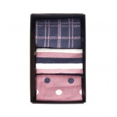 Barbour Spot Stripe Sock Pack Pink/Navy