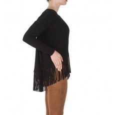 Joseph Ribkoff Fringed Top Black