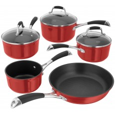 Stellar 3000 Saucepan Set Ruby Red 5Pce