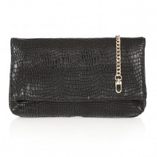 Lotus Black Crocodile Print Clutch Bag