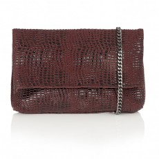Lotus Burgundy Crocodile Print Clutch Bag