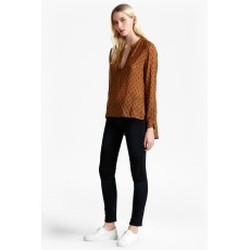 French Connection Rossine Voile Ls Popover Top Terra Tan/Blk