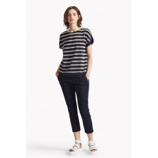Great Plains Lattice Stripe Dopped Back Hem Tee Navy/Cream
