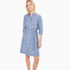 Gant Striped Linen Shirt Dress Persian Blue