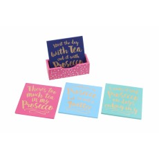 Oh So Pretty Set 4 Wooden Coasters In Tray