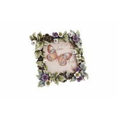 Green Leaf & Purple Flower Enamel & Crystal Frame
