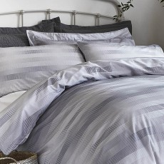 Stripe Cotton Bedding Grey Check