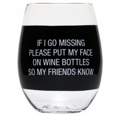 Face On Bottle Stemless Wine Glass