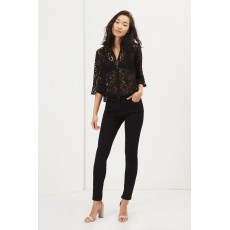 Great Plains Liz Lace Frilly Peplum Sleeve Blouse Black