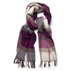 Gant O1. Tartan Lambswool Scarf Raspberry Purple
