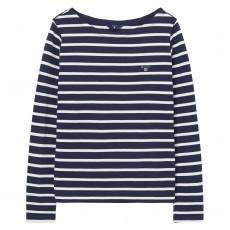Gant Breton Stripe Boatneck Jumper Evening Blue