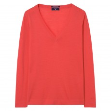 Gant Fine Merino Wool V-Neck Fiesta Orange