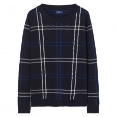 Gant O2. Checked Lambswool Crew Marine