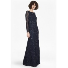 French Connection Helen Sparkle L/S Maxi Dress Nocturnal