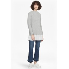 French Connection Ila Knits L/S High Neck Jumper Light Grey Mel