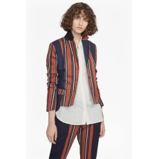 French Connection Dovie Stripe Suiting L/S Jacket Copper Coin/Blue