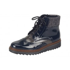 Rieker Lace up Marine Patent Boot