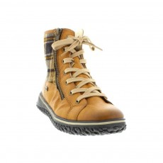Rieker Tan/Check Lace Up Boot