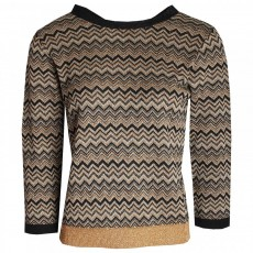 Latte 3/4 sleeve zig zag print knit with tie back