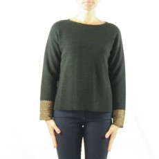 Latte long sleeve step knit with gold rib detail