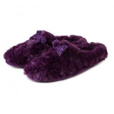 Totes Fur Mule With Velvet Ribbon Slipper