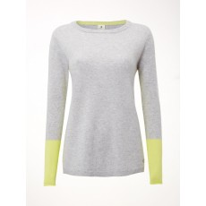WhiteStuff Lizzy Cashmere Jumper Grey/Lime