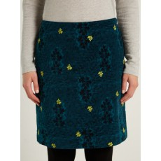 WhiteStuff Falling Leaves Velvet Skirt Sea Grn