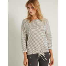 WhiteStuff Star Stripe Drawstring 3/4 Top Calm Cream