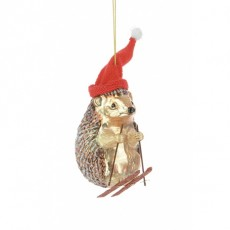 Glass Skiing Hedgehog Brown/Red 12cm