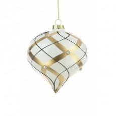 Glass Fabiola Onion Gold/White 10cm
