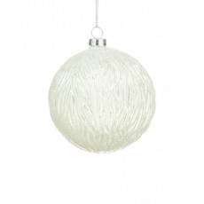 Glass Fallon Bauble White 10cm