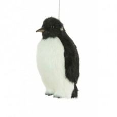 Fur Penguin Ornament Black12cm