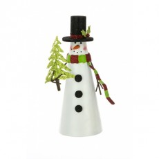 Cone Tin Snowman-Tree White 30cm