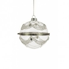 Glass Beatrix Opening Bauble Clear 9cm