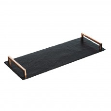 Just Slate Serving Tray With Copper Handles Lrg