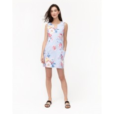 Joules Elayna Notch Neck Linen/Cotton Print Shift Dress