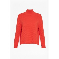 Great Plains Kimara Cotton Bubble Polo Neck Jumper Scarlet