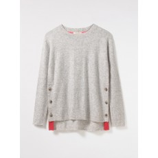 White Stuff Café Button Side Jumper Silver Grey