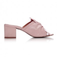Moda in Pelle Peep Toe Block Heel Knot Bow Light Pink