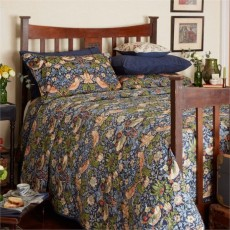 Bedeck Morris & Co Strawberry Thief Bedding Indigo