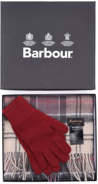 Barbour Ladies Scarf and Glove Set Red/Neutral