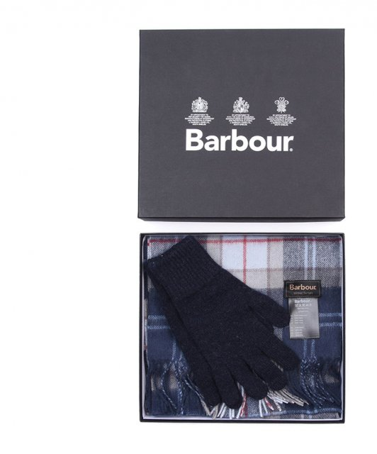 Barbour Ladies Scarf and Glove Set Navy