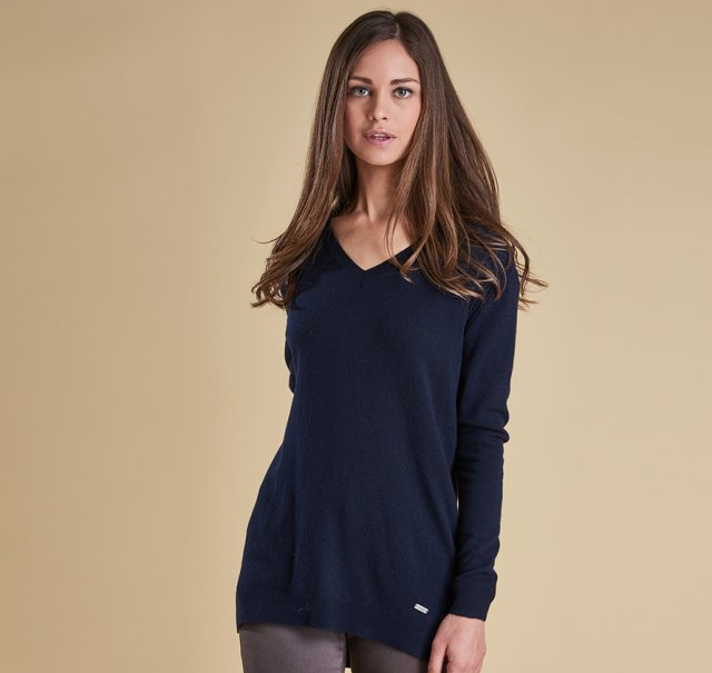 Barbour Meadowsweet V  Neck Sweater Navy