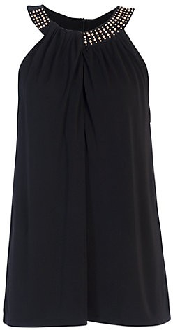 French Connection Diamond Drape Halterneck Top Black