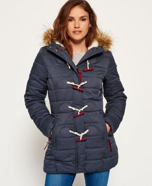 Superdry Tall Marl Toggle Puffle Jacket Navy Marl Coats