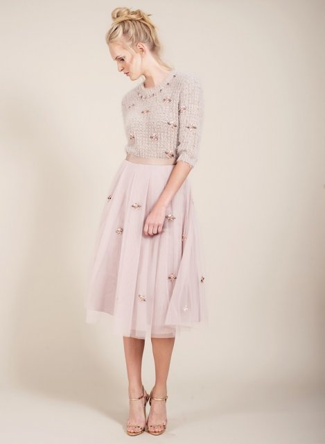 Darling Phebe Flared  Skirt Fawn