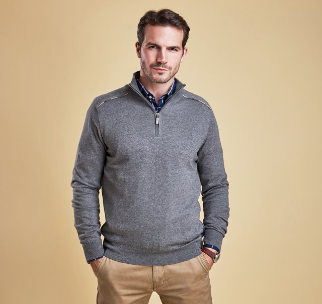 Barbour Wick Half Zip Grey