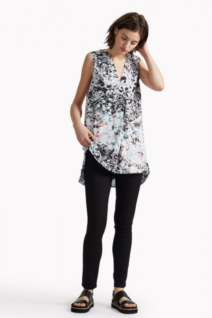 Great Plains Miquita Marble Sleeveless Top Spearmint/Black