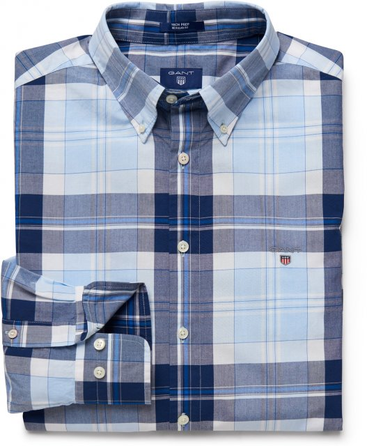 Gant Tech Prep Check Reg Bd Shirt Capri Blue