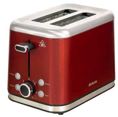 Brabantia Brushed Stainless Steel Toaster Red 2 Slice